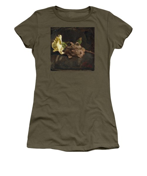 Women's T-Shirt (Junior Cut) featuring the painting Kiss Me And Find Out by Billie Colson