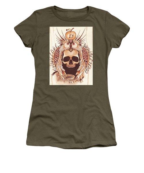 Knowledge Women's T-Shirt (Junior Cut) by Deadcharming Art