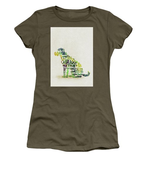 Women's T-Shirt (Athletic Fit) featuring the painting Labrador Retriever Watercolor Painting / Typographic Art by Ayse and Deniz