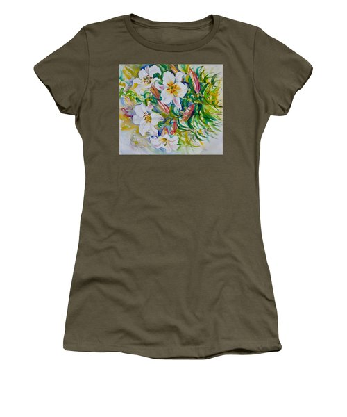 Women's T-Shirt featuring the painting Ladtslippers by Ingrid Dohm
