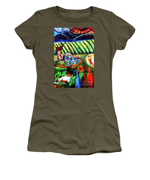 Women's T-Shirt (Junior Cut) featuring the painting Lady And The Grapes by Genevieve Esson