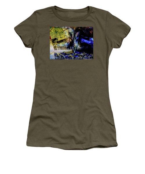 Lady At The Beach Through The Frozen Falls Women's T-Shirt