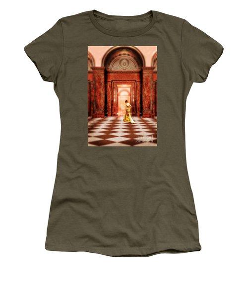 Lady In Golden Gown Walking Through Doorway Women's T-Shirt (Junior Cut) by Jill Battaglia