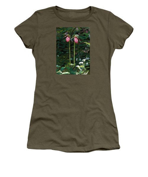 Women's T-Shirt (Athletic Fit) featuring the painting Lady Slipper by Lynne Reichhart