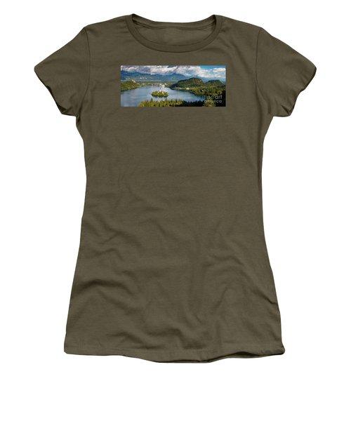Women's T-Shirt (Junior Cut) featuring the photograph Lake Bled Pano by Brian Jannsen
