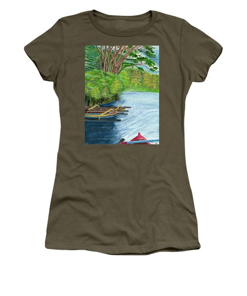 Women's T-Shirt (Junior Cut) featuring the painting Lake Bratan Boats Bali Indonesia by Melly Terpening