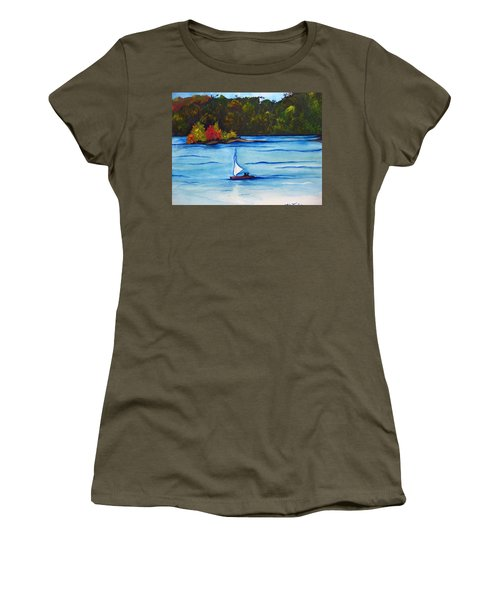 Women's T-Shirt (Junior Cut) featuring the painting Lake Glenville  Sold by Lil Taylor