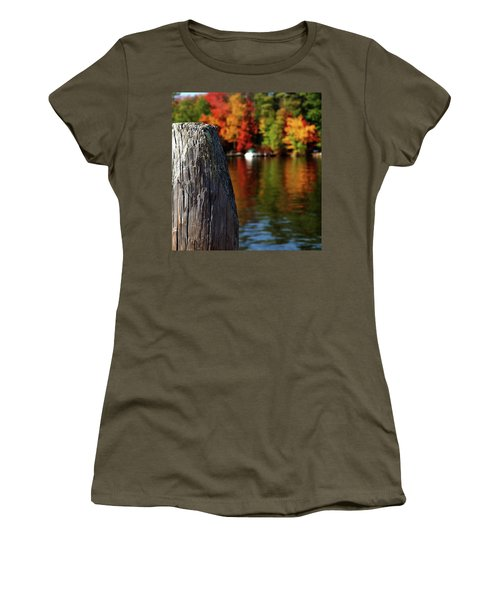 Lake Winnepesaukee Dock With Foliage In The Distance Women's T-Shirt
