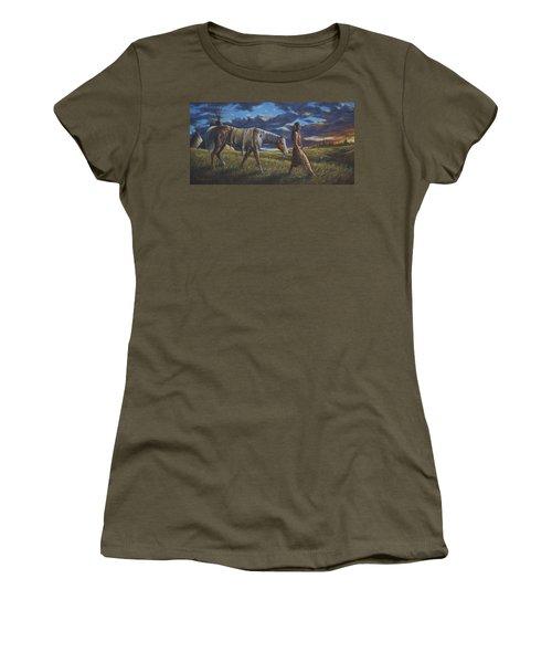 Women's T-Shirt (Junior Cut) featuring the painting Lakota Sunrise by Kim Lockman