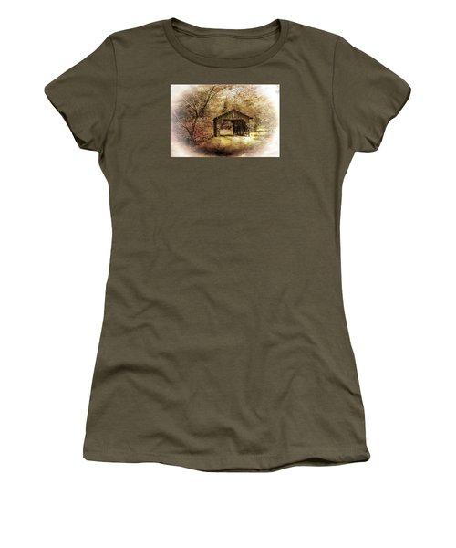 Women's T-Shirt (Junior Cut) featuring the photograph Lamplighter Covered Bridge by Judy  Johnson
