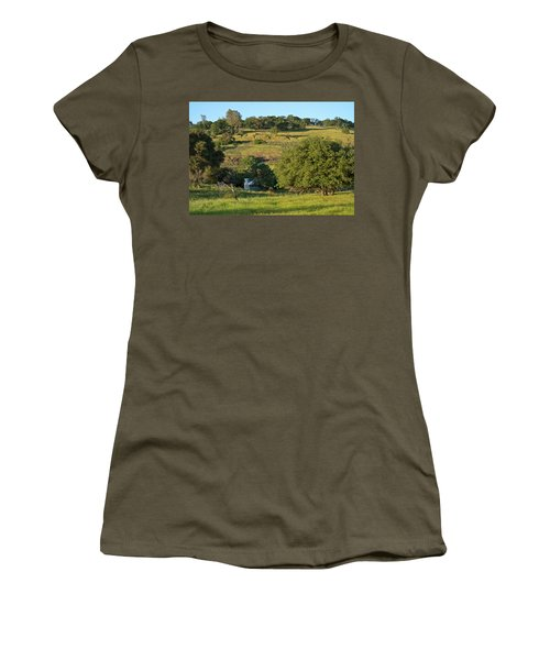 Women's T-Shirt (Athletic Fit) featuring the photograph Land Of Blue House by Michele Myers