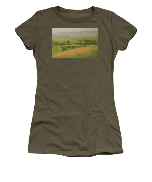 Women's T-Shirt featuring the drawing Land Of Grass by Cris Fulton