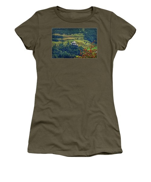Women's T-Shirt (Athletic Fit) featuring the photograph Landscape With Castle by Hanny Heim