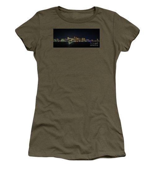 Large Panoramic Of Downtown Boston At Night Women's T-Shirt
