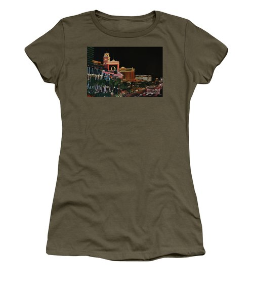 Las Vegas Strip Oil On Canvas Painting Women's T-Shirt (Athletic Fit)