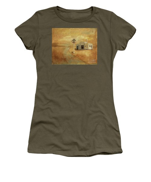 Women's T-Shirt (Athletic Fit) featuring the digital art Last Chance Gas by Lois Bryan