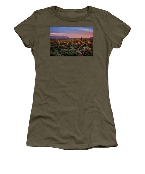 Women's T-Shirt (Junior Cut) featuring the photograph Last Light On The Sonoran  by Saija Lehtonen