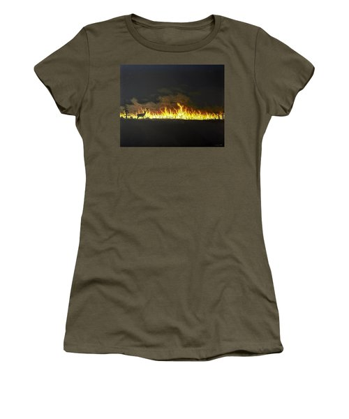 Women's T-Shirt featuring the painting Last Look Back At Home by Kevin Daly