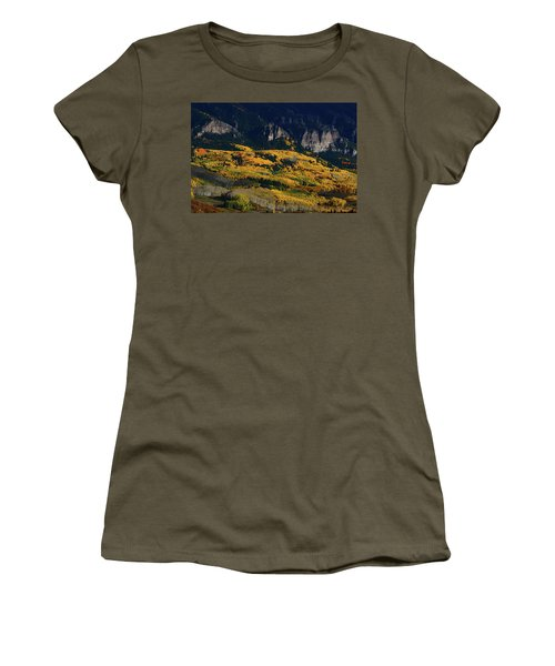Late Afternoon Light On Aspen Groves At Silver Jack Colorado Women's T-Shirt (Athletic Fit)