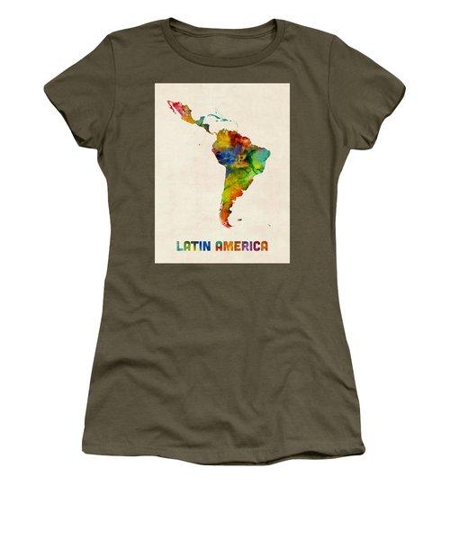 Women's T-Shirt (Junior Cut) featuring the digital art Latin America Watercolor Map by Michael Tompsett