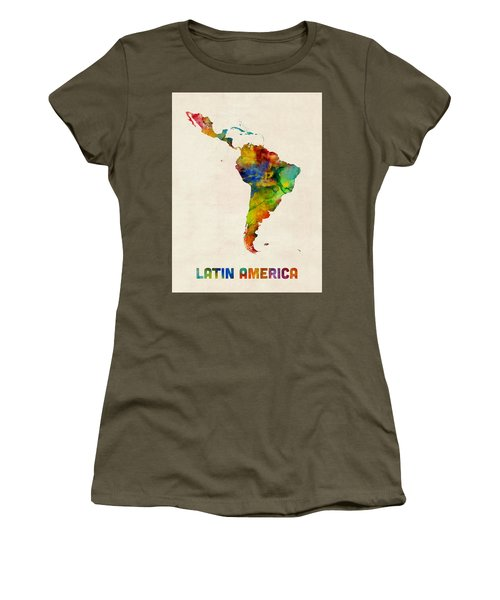 Latin America Watercolor Map Women's T-Shirt