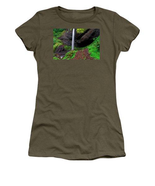 Women's T-Shirt (Junior Cut) featuring the photograph Latourell Falls Oregon by Jonathan Davison