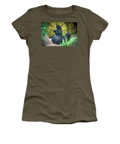 Women's T-Shirt (Junior Cut) featuring the painting Laughing Bears by John Haldane