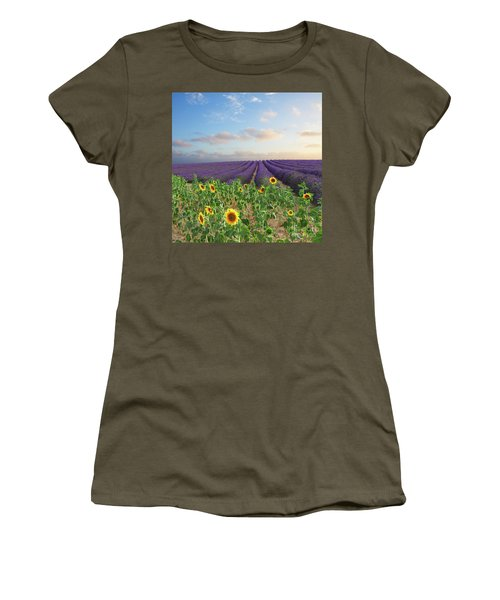 Lavender And Sunflower Flowers Field Women's T-Shirt (Athletic Fit)