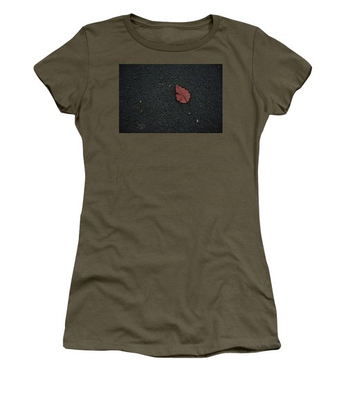 Leaf On Asphalt Women's T-Shirt (Junior Cut) by John Rossman
