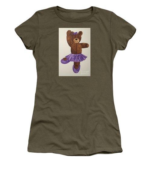 Women's T-Shirt (Junior Cut) featuring the painting Leah's Ballerina Bear 1 by Tamir Barkan