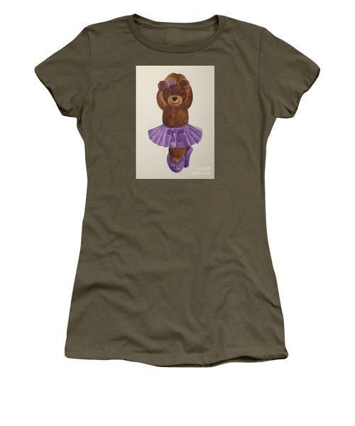 Women's T-Shirt (Junior Cut) featuring the painting Leah's Ballerina Bear 3 by Tamir Barkan