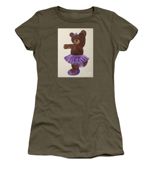 Women's T-Shirt (Junior Cut) featuring the painting Leah's Ballerina Bear 4 by Tamir Barkan