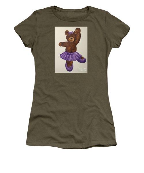 Women's T-Shirt (Junior Cut) featuring the painting Leah's Ballerina Bear 5 by Tamir Barkan