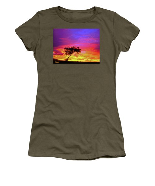 Leaning Tree At Sunset Women's T-Shirt