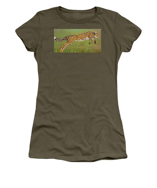 Leaping Cheetah Women's T-Shirt (Athletic Fit)