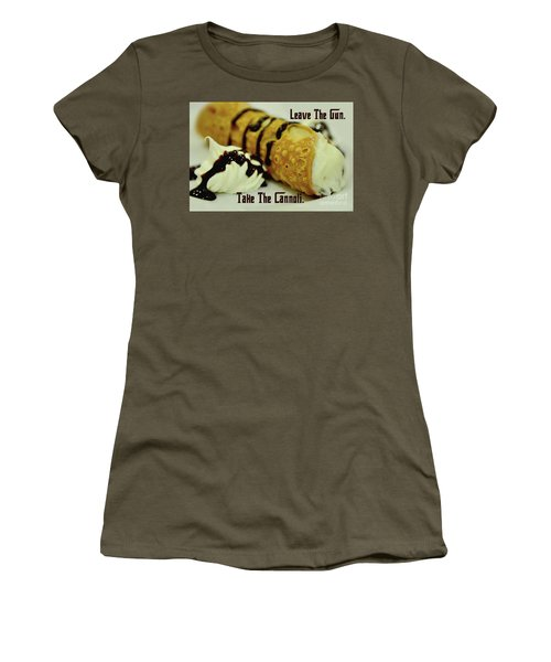 Leave The Gun Take The Cannoli Women's T-Shirt (Athletic Fit)
