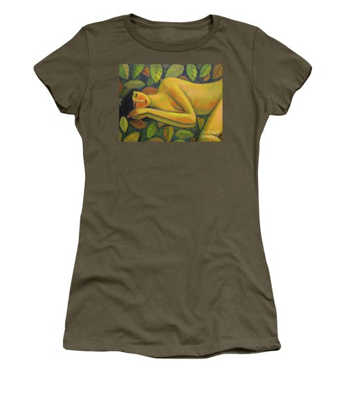 Women's T-Shirt (Junior Cut) featuring the painting Leaves Of Absence by Glenn Quist