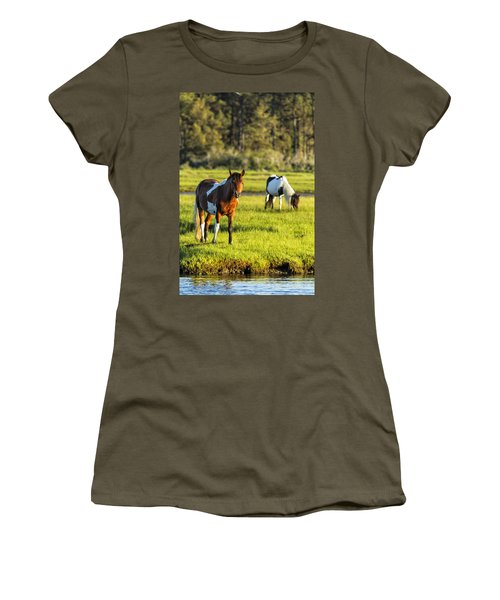 Leaving The Chincoteague Ponies Women's T-Shirt (Athletic Fit)