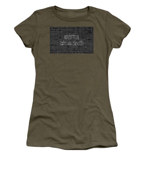 Women's T-Shirt featuring the digital art Led Zeppelin Brick Wall by Dan Sproul