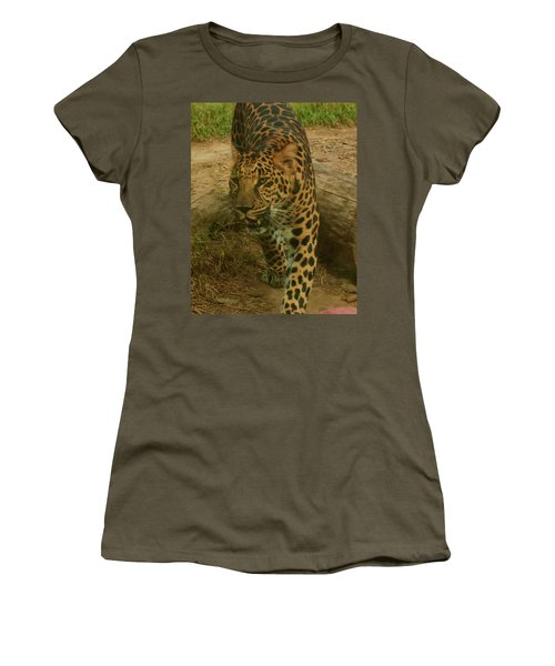 Women's T-Shirt (Athletic Fit) featuring the photograph Leopard by Chris Flees