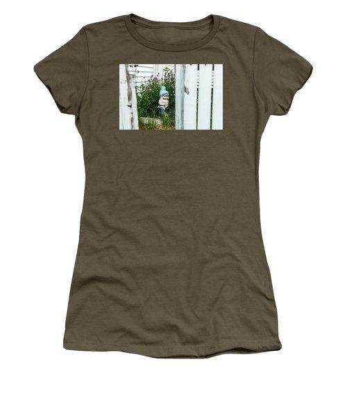 Leprechaun Munching Chives Women's T-Shirt (Junior Cut) by Daniel Hebard