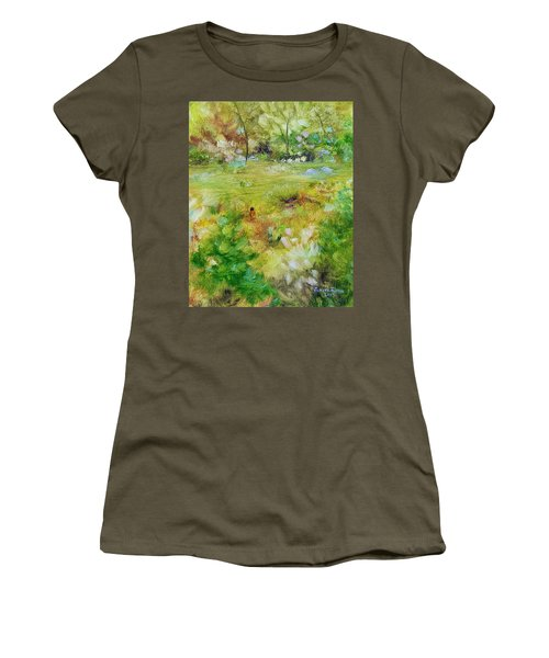 Women's T-Shirt (Athletic Fit) featuring the painting Life Lessons by Judith Rhue