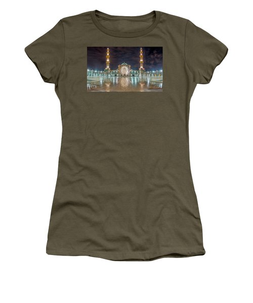 Women's T-Shirt featuring the photograph Lighted Federal Territory Mosque  by Pradeep Raja Prints