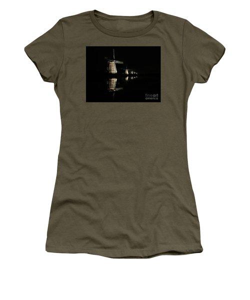Lighted Windmills In The Black Night Women's T-Shirt