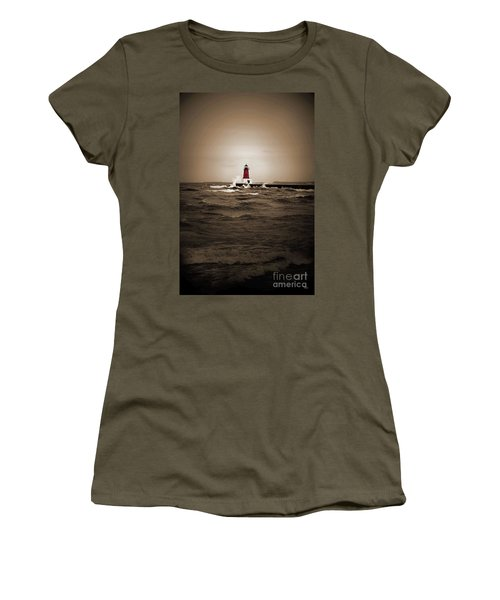 Lighthouse Glow Sepia Spot Color Women's T-Shirt