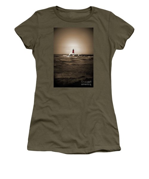 Lighthouse Glow Sepia Spot Color Women's T-Shirt (Athletic Fit)