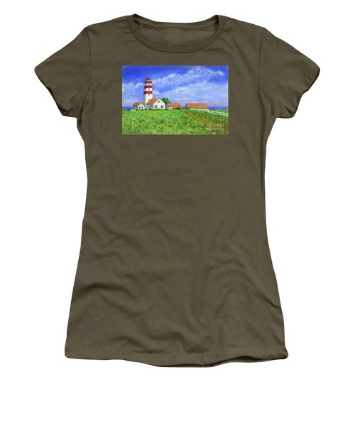 Women's T-Shirt (Junior Cut) featuring the painting Lighthouse Pasture by Val Miller