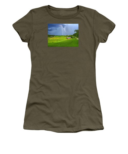 Lightning Storm Over Jenne Farm Women's T-Shirt (Junior Cut) by John Vose