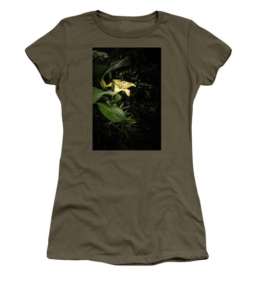Women's T-Shirt (Junior Cut) featuring the photograph Lily In The Garden Of Shadows by Marco Oliveira