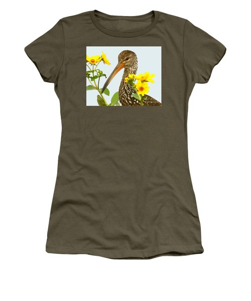 Women's T-Shirt (Junior Cut) featuring the photograph Limpkin In The Flowers by Myrna Bradshaw